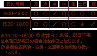 受付時間 9:00~12:00 15:30~20:00 土曜、祝日は午前のみ診療 休診日 土曜午後、日曜